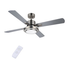 """52"""" 4-Blade Ceiling Fan with LED Light and Remote Control, Brushed Nickel Finish"""