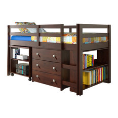 Donco Kids Studying Student Low-Loft Bed, Cappuccino, Twin