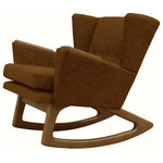 Lewis Interiors - Mid Century Modern Handcrafted Rocking Chair Wingback Rocker Chocolate Brown - A twist on one of our most popular mid century modern chairs, our Short Back Rocker (SBR) chair is absolutely fabulous in every way!  Featuring a low back club style mid century inspired design, this designer rocking chair is a showcase piece for any collection, and will be the centerpiece in any room of your home. This is NOT your grandmother's rocking chair!  With Lewis Interiors behind you, you can finally move beyond mass produced mid century modern chairs by opting instead for your own handcrafted piece of modern retro Americana. In this regard, our SBR chair is as unique and timeless as you are!