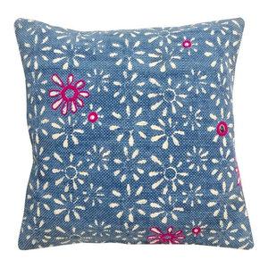 Indigo Batik Cushion, Flowers, Cover Only