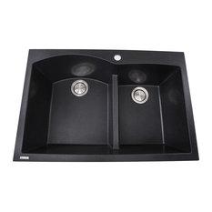 Nantucket Sinks 60/40 Double Bowl Dual-Mount Granite Composite, Black