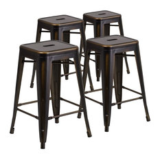 """24"""" High Backless Distressed Copper Metal Indoor Counter Stools, Set of 4"""
