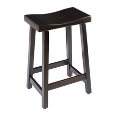 """Urban Rustic Saddle Bar Stool, Maple Wood , Onyx Stain, Counter Height, 24"""""""