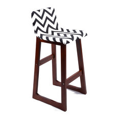 Set Of 2 Chelsea Contemporary Wood/Fabric Barstool - Black/White Chevron
