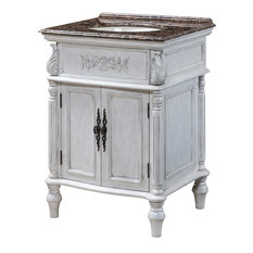 26 Inch Distressed Small Bathroom Vanity with Sink, Marble Top, Traditional