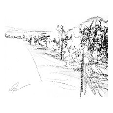 """Bring home Napa Valley with """"Fading Golden Hour"""" by Ann Rea, charcoal on paper"""