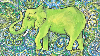 Indian Style Green Elephant Painting