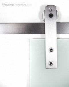 Custom barn door hardware contemporary bathroom for Real carriage hardware