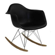 RAR Mid Century Modern Rocking Chair, Steel Eiffel Legs, Black