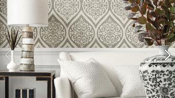 Master bedroom wall paper installation