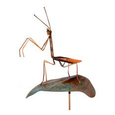 Handcrafted Copper Praying Mantis Garden Stake