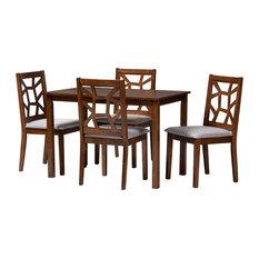 Renata Mid-Century Walnut And Gray Upholstered 5-Piece Dining Set