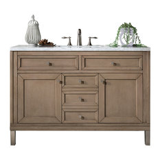 "Chicago 48"" Single Vanity White Washed Walnut, 3 cm Classic White Quartz Top"