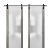Double Barn Door 48 x 80 & Glass | Planum 4114 Ginger Ash | 13FT Rails Set