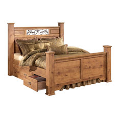 Ashley Furniture Homestore - Bittersweet King Poster Bed with Underbed Storage in Pine Grain - Panel Beds