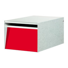 Stainless Steel Letterbox - Back Opening, Red, No Flag, Standard Post