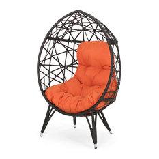 Michaela Indoor Wicker Teardrop Chair With Cushion