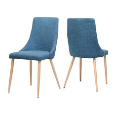 GDF Studio Soloman Fabric Dining Chairs With Wood Finished Legs Set Of 2