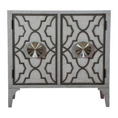 Moroccan Pattern 2-Door Accent Chest Storm Gray