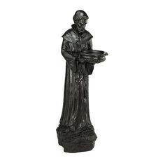 "24"" St. Francis of Assisi Bird Feeder Outdoor Statue, Dark Brown"