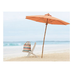 Outdoor Beach Umbrella 7 Foot Sunshade Patio Garden with Bamboo Base, Pottery
