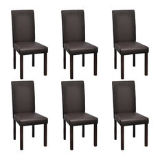 vidaXL Set of 6 Faux Leather Dining Chairs, Brown