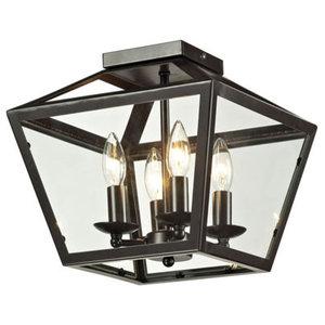 41554-ABZ Aged Bronze Brushed Craftmade Cubic 4 Light Semi Flush