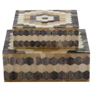Set of 2 Hexagon Pattern Storage Boxes