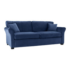 Sofamania Clic And Traditional Ultra Comfortable Velvet Fabric Sofa Navy Sofas