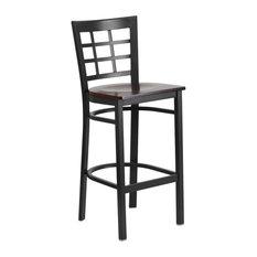 Black Window Back Metal Restaurant Barstool Walnut Wood Seat