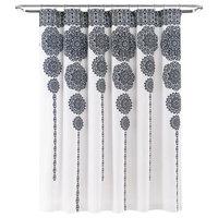 """Stripe Medallion Shower Curtain, 72""""x72"""", Navy"""