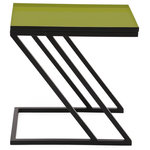 Foreign Affairs Home Decor - Rectangular Side Table Moss With Green Enameled Top And Black Base - Stylish, chic and useful - the MOSS side table has it all. Unusual moss green enameled top with slanted powder-coated black base.