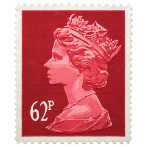 Red 62p Stamp Rug, 100x120 cm
