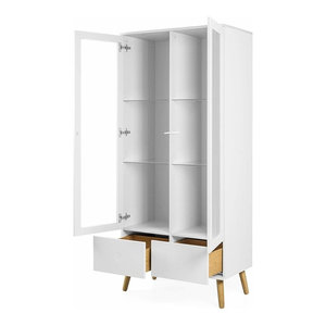 Modern Display Cabinet, White Painted MDF With 2-Glass Door and 2-Drawer