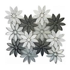 """White Silver Gray Glass Flower Tile Marble Backsplash, 12""""x12"""" Sheet"""
