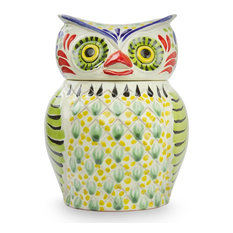 Owl Treats Majolica Ceramic Cookie Jar