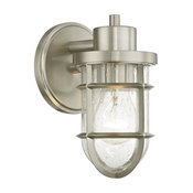 Seeded Glass Wall Sconce with Satin Nickel Cage
