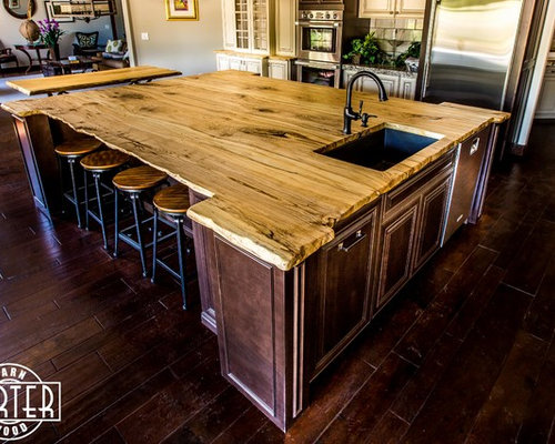 Kitchen Island Spalted Hackberry Live Edge Island Top