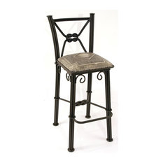 New World Trading Diamond Western Barstool w Back in Wrought Iron w Hand Tooled Leather