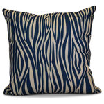 "E by Design - Wood Stripe Geometric Print Outdoor Pillow, Navy Blue, 20""x20"" - Let out your wild side this fall with a fun wood print! E by Design's Flora and Fauna collection will brighten your outdoor living space with natural beauty."