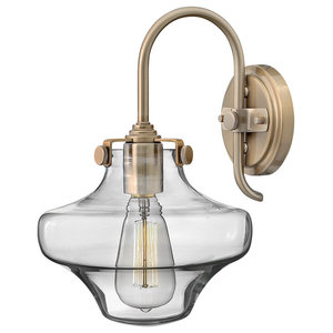 Congress Glass Wall Light, Brushed Caramel