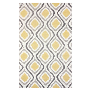 "Hand Hooked Contemporary Ikat Trellis Rug, Sunflower, 8'6""x11'6"""