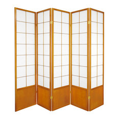 6' Tall Zen Shoji Screen, Honey, 5 Panels