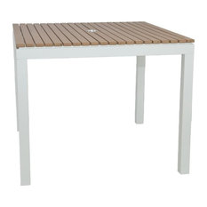 Riviera Outdoor Faux Wood Square Dining Table, White