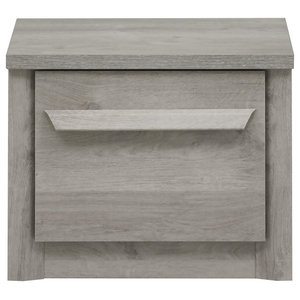 Eden Grey Oak Bedside Table With Drawer, Small