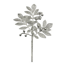 """18"""" Silver Glittered Leaf Pick With Berries"""