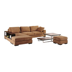 Fabric Sectional With Bookcase Arm, Two Ottomans And Facing Left Chaise, Brown