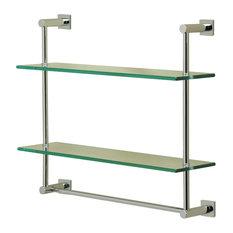 Essentials/Braga 2-Tier Shelf With Towel Bar, Chrome