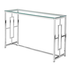 Silver Stainless Steel Glass Sofa Table
