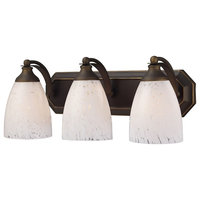 ELK Lighting Bath and Spa 3 Light Vanity, Aged Bronze and Snow White Glass